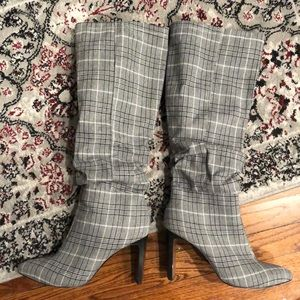 Black and white plaid boots